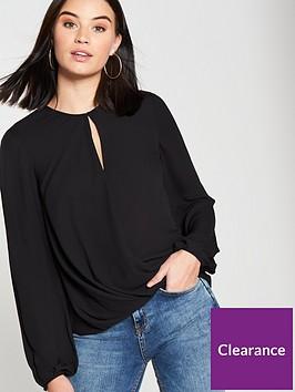 warehouse-long-sleeve-drape-front-top-black