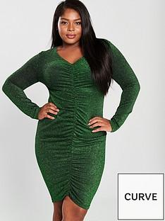 576eda2dc0f8 AX PARIS CURVE V Neck Ruched Detail Sparkle Midi Dress - Green