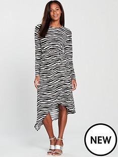 warehouse-zebra-print-o-ring-slinky-dress-printednbsp