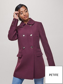 miss-selfridge-petite-double-breasted-pea-coat-burgundy