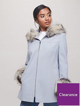 miss-selfridge-petite-faux-fur-trim-duffle-wool-coat-grey