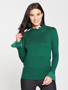 oasis-pointelle-woven-cuff-knitted-jumper-green