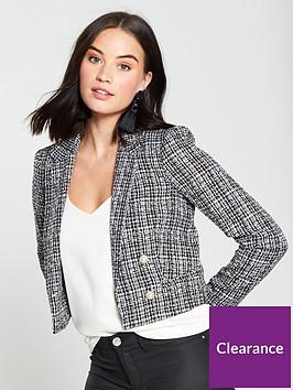 miss-selfridge-boucle-jacket-black