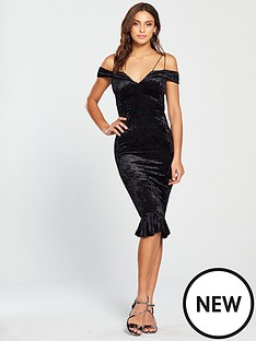 ax-paris-strappy-velvet-frill-hem-dress-black