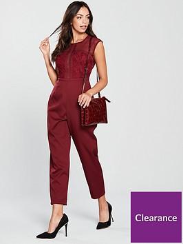 6360b59623c6 Girls on Film Crochet Detail Jumpsuit - Burgundy