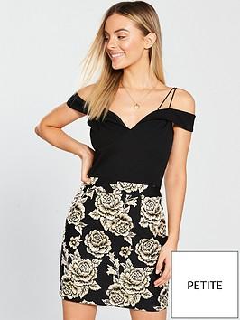 ax-paris-petite-strappy-jacquard-skirt-dress-blackgold