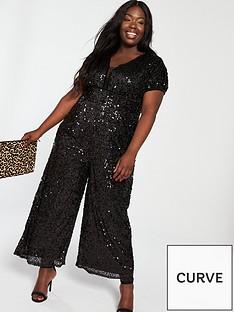 4b0a6f29a6342 Little Mistress Curve Curve Sequin Jumpsuit - Black