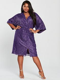 little-mistress-curve-kimono-sleeve-twistnbspsequin-dress-purple