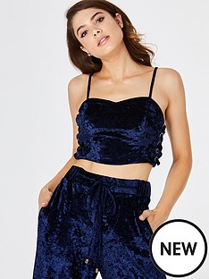 girls-on-film-crushed-velvet-lace-up-side-detail-strappy-crop-top-navy