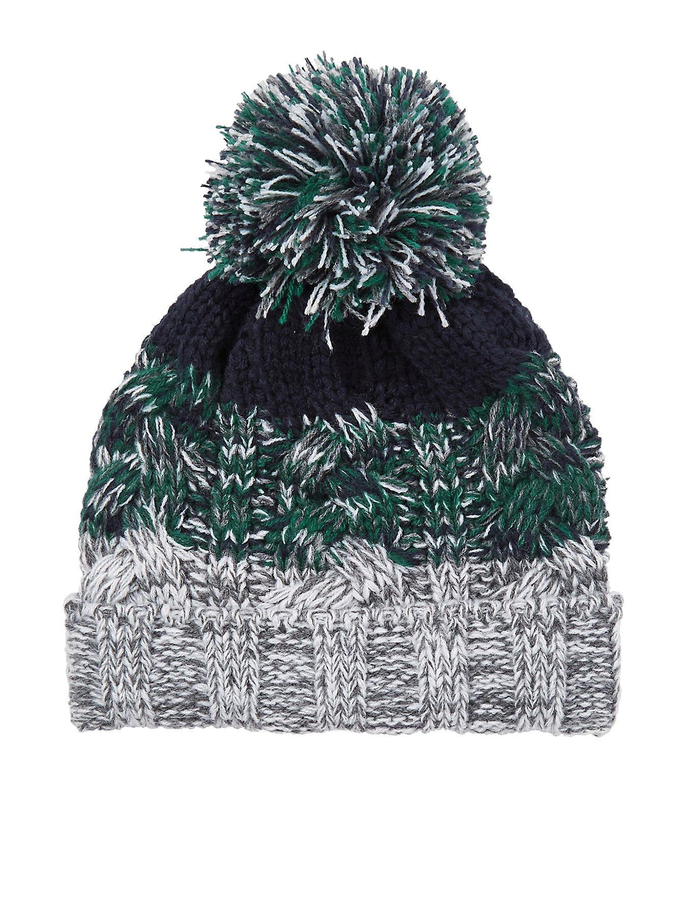 bdd2d971322 ... ebay river island mini boys green knit stripe beanie hat ada92 5037d