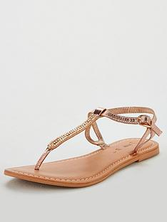 06c5fc0f7ef0 V by Very Harmony leather embellished toepost sandal