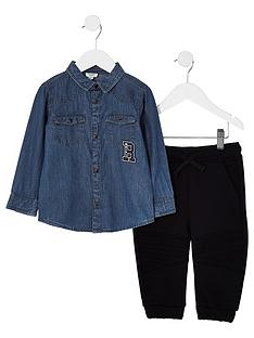 river-island-mini-boys-blue-denim-shirt-and-jogger-outfit