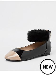 river-island-girls-black-patent-faux-fur-ballerina-pumps