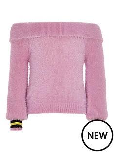 river-island-girls-bardot-fluffy-knit-tipped-jumper