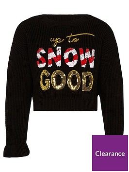 river-island-girls-black-snow-good-christmas-jumper