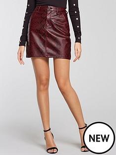 michelle-keegan-snake-print-mini-skirt-red