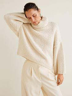 mango-wool-blend-roll-neck-jumper-cream