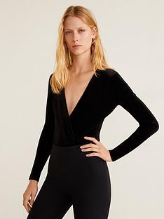 dcb7e9e0faa4cc Mango V Neck Velvet Bodysuit - Black