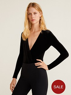 mango-v-neck-velvet-bodysuit-black