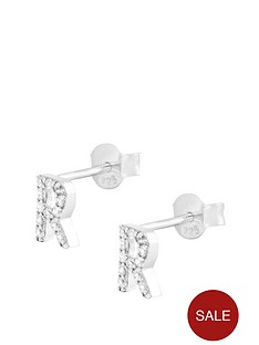 the-love-silver-collection-sterling-silver-cubic-zirconia-initial-stud-earrings