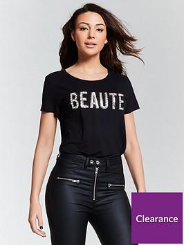 michelle-keegan-printed-embellished-beautenbspslogan-t-shirt-black