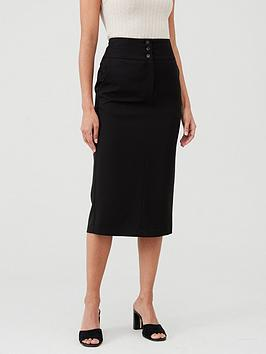 V by Very V By Very The Workwear Midi Skirt - Black Picture