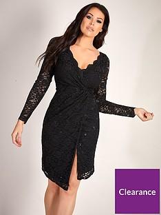 3ce03f625bb341 Sistaglam Loves Jessica Sequin Lace Split Side Midi Dress - Black