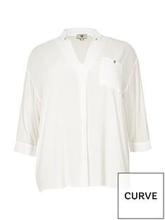 ri-plus-cut-out-button-back-blouse-white