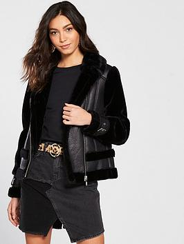 river-island-river-island-faux-fur-contrast-aviator-jacket-black
