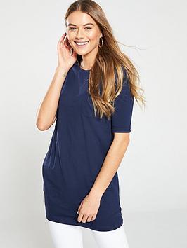 v-by-very-three-quarter-sleeve-pocket-tunic-navy