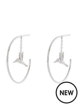 Accessorize Sterling Silver Hummingbird Hoop Earrings