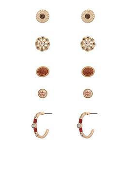 accessorize-mocha-stud-set-earrings
