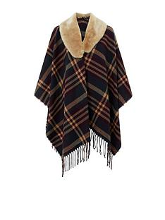 accessorize-checkerednbspfaux-fur-trim-poncho-multi