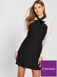 V by Very Bow Detail Lace Tunic Dress - Monochrome 3a2c8e59d2d
