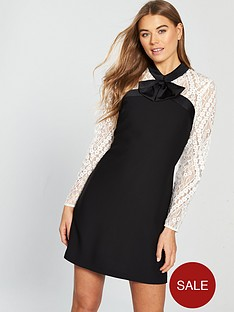 v-by-very-bow-detail-lace-tunic-dress-monochrome