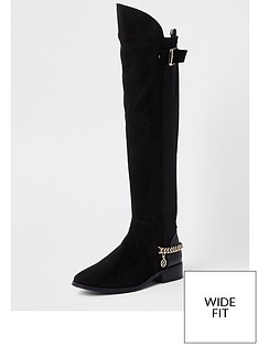 river-island-river-island-wide-fit-chain-detail-knee-high-boot-black
