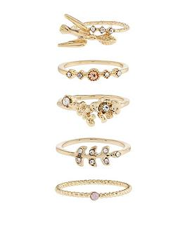 accessorize-5x-pretty-stack-ring-set-ndash-gold-toned