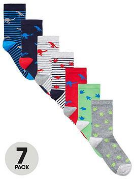 V by Very V By Very Boys 7 Pack Dinosaur Socks - Multi Picture