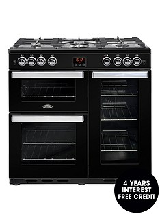 belling-90g-cookcentre-90cm-gas-range-cooker-with-optional-connection--nbspblacknbsp