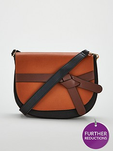 v-by-very-penny-knot-strap-saddle-bag-blacktan