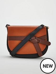 v-by-very-penny-knot-strap-saddle-bag-blacktan