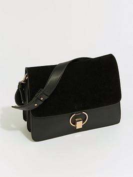 warehouse-mixed-material-satchel-blacknbsp