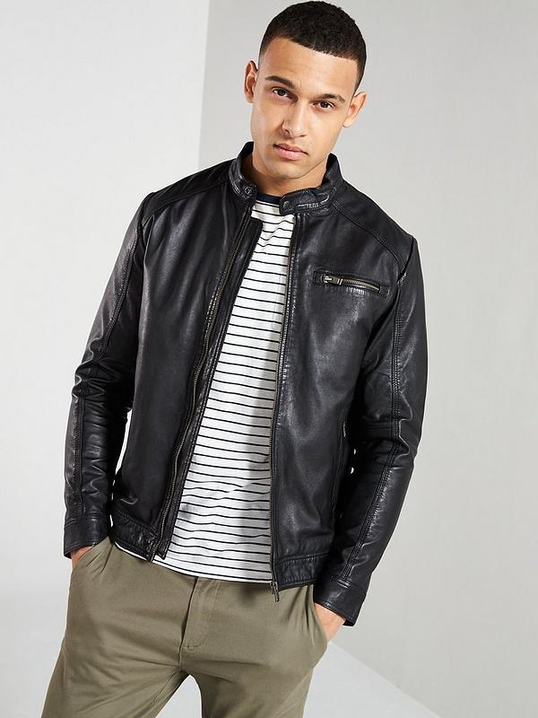 prezzo ridotto design raffinato grandi affari 2017 Selected Homme Lamb Leather Jacket - Black | littlewoods.com