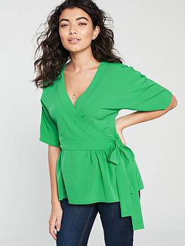 v-by-very-wrap-blouse-green