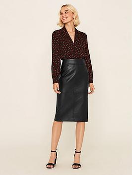 oasis-faux-leather-pencil-skirt-black