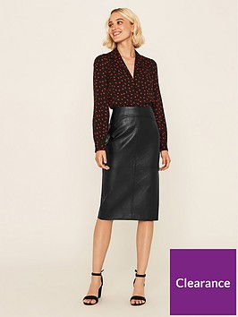 oasis-faux-leather-pencil-skirt-black