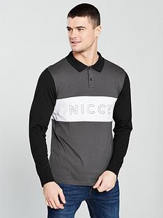 nicce-ober-long-sleeve-polo-coalblackwhite