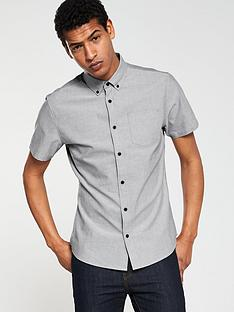 3796daeab59 V by Very Short Sleeved Button Down Oxford Shirt - Grey