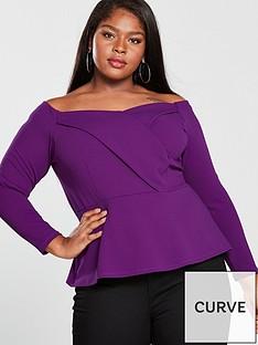 v-by-very-curve-long-sleeve-bardot-top-purple