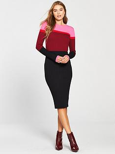warehouse-colour-block-ribbed-dress-berry